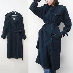 Vintage 80s Christian Dior Navy Blue Trench Coat Maxi Long Shoulder Pad